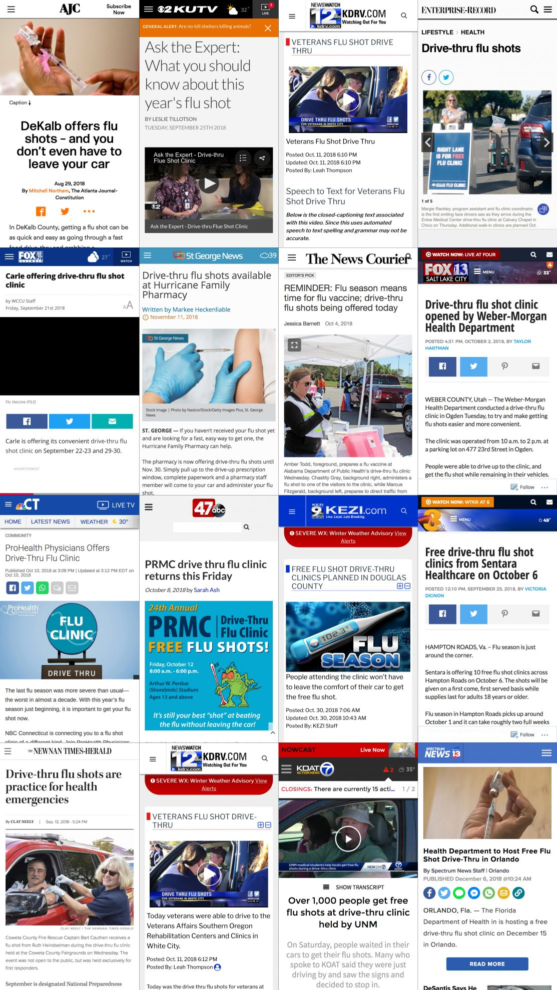 Drive Thru Flu Shot News Headline Montage