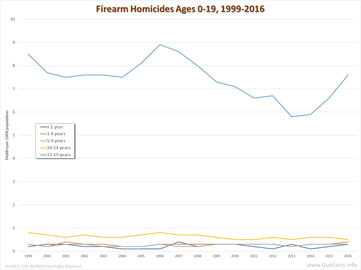 Firearm Homicides ages 0-19 1999-2016