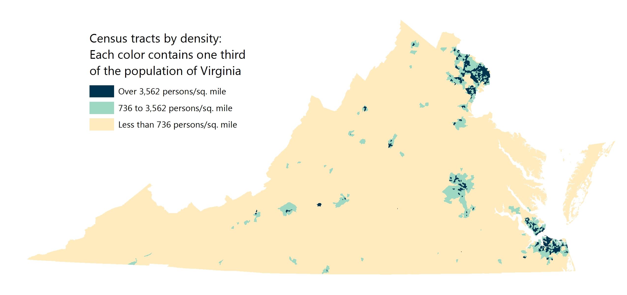 Virginia population density map